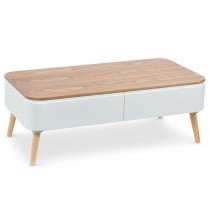 "Table Basse Scandinave ""Arvika"" 95cm Blanc"