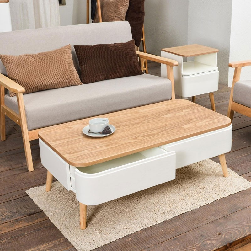 Table basse scandinave arvika 95cm blanc - Table de salon style scandinave ...