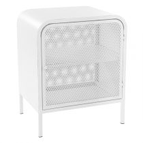 "Table de Chevet en Métal ""Alexy"" 50cm Blanc"