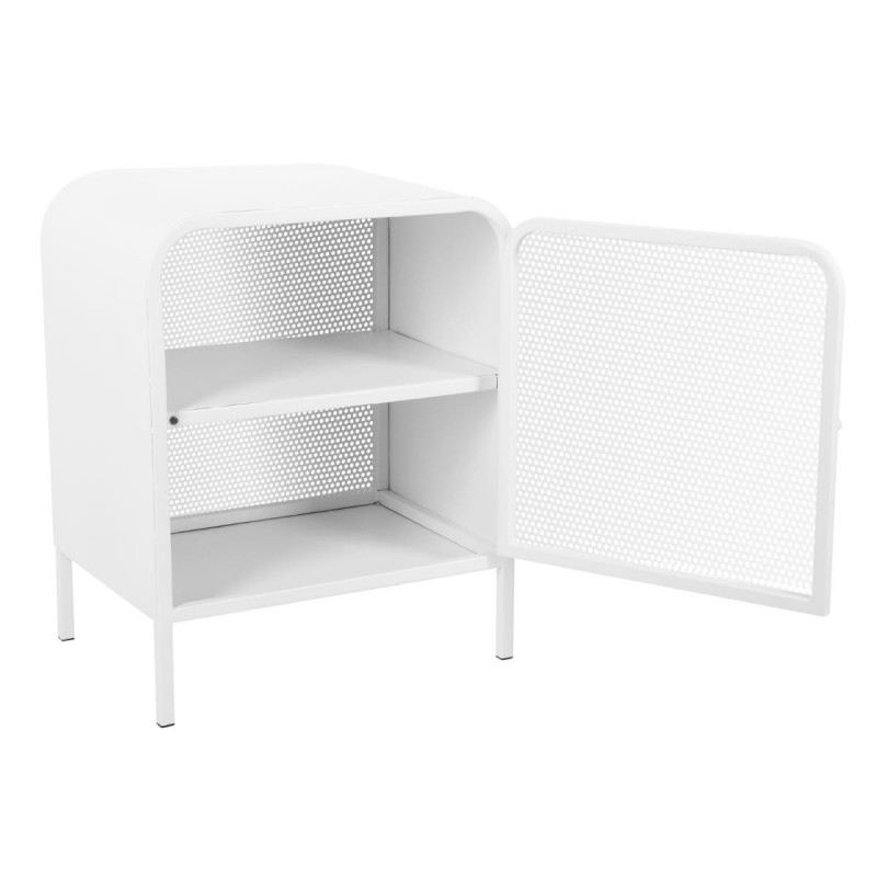 table de chevet en m tal alexy 50cm blanc. Black Bedroom Furniture Sets. Home Design Ideas