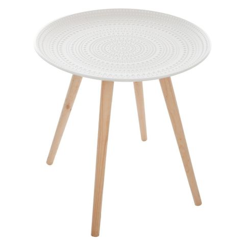 "Table d'Appoint Scandinave ""Mileo"" 49cm Blanc"