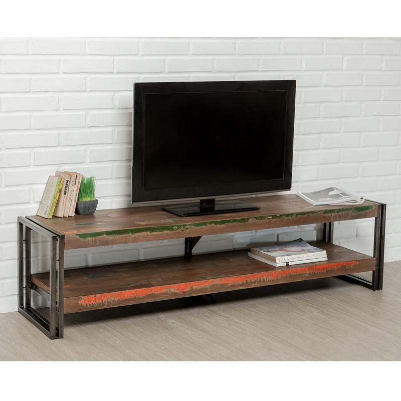 meuble tv en teck industriel loft 160cm marron. Black Bedroom Furniture Sets. Home Design Ideas