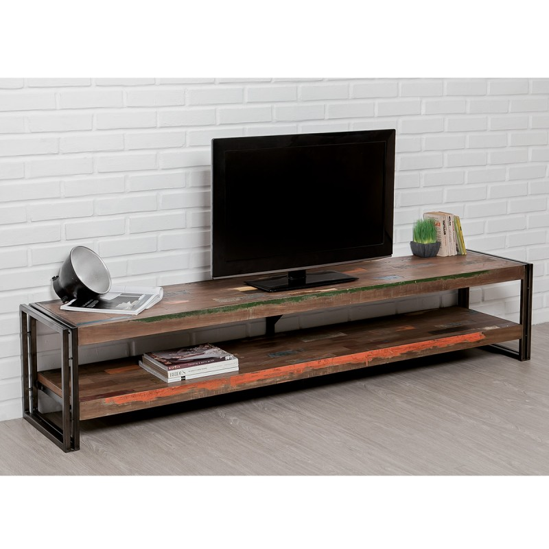 meuble tv en teck industriel loft 200cm marron. Black Bedroom Furniture Sets. Home Design Ideas