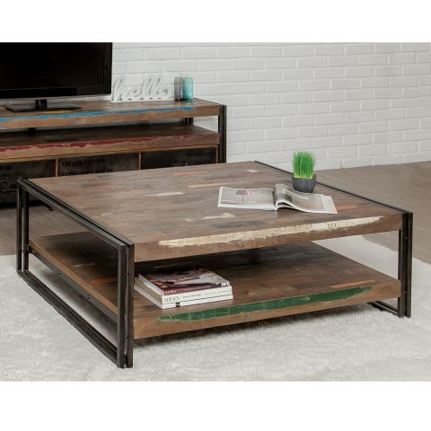 Table Basse Carré En Teck Industriel Loft 120cm Marron