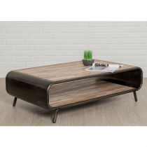 "Table Basse en Teck Industriel ""Fusion"" 120cm Marron"