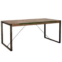 "Table à Manger en Teck Industriel ""Loft"" 180cm Marron"