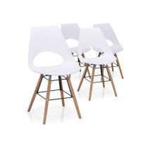 "Lot de 4 Chaises Scandinave ""Tiago"" 83cm Blanc"