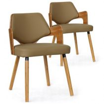 "Lot de 2 Chaises Design ""Aley"" 72cm Taupe & Naturel"