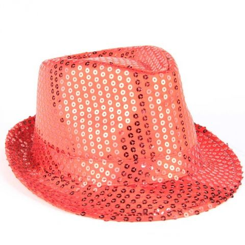 Chapeau Adulte Fête 6 Led Rouge