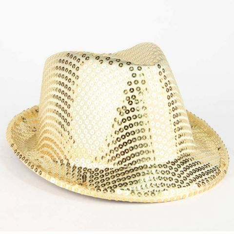 Chapeau Adulte Fête 6 Led Or