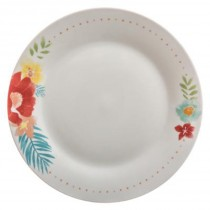 "Lot de 6 Assiettes Plates ""Flower"" 27cm Blanc"