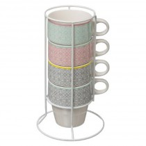"Lot de 4 Mugs sur Rack ""Moza"" 26cl Multicolore"