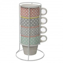 "Lot de 4 Mugs sur Rack ""Kalei"" 26cl Multicolore"