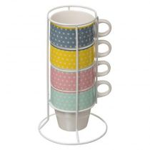 "Lot de 4 Mugs sur Rack ""Scandi"" 26cl Multicolore"