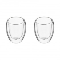"Lot de 2 Tasses à Café ""Double Paroi"" 10cl Transparent"