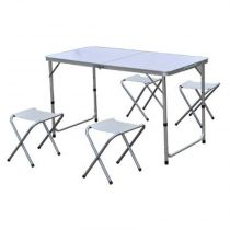 "Ensemble Table Pliante & 4 Tabourets ""Ludivine"" Blanc"