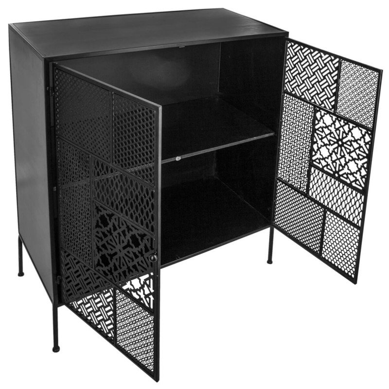 buffet 2 portes m tal teeco 91cm noir. Black Bedroom Furniture Sets. Home Design Ideas