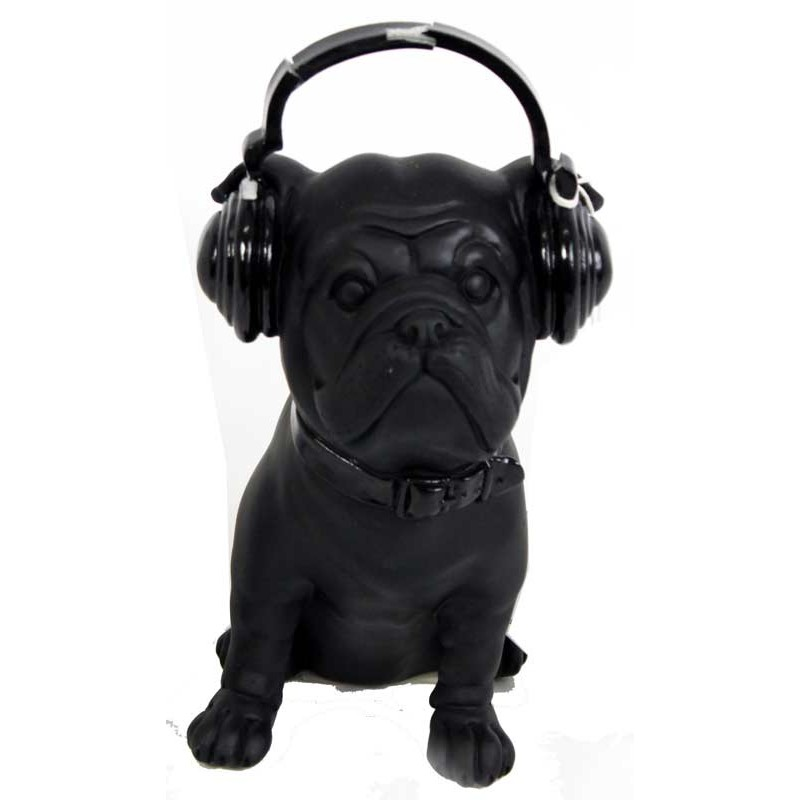 statue d co bulldog casque noir 20 cm. Black Bedroom Furniture Sets. Home Design Ideas
