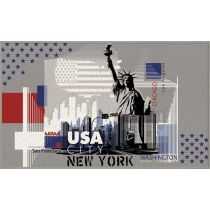 "Tapis Déco Rectangulaire ""USA City"" 50x80cm Gris"