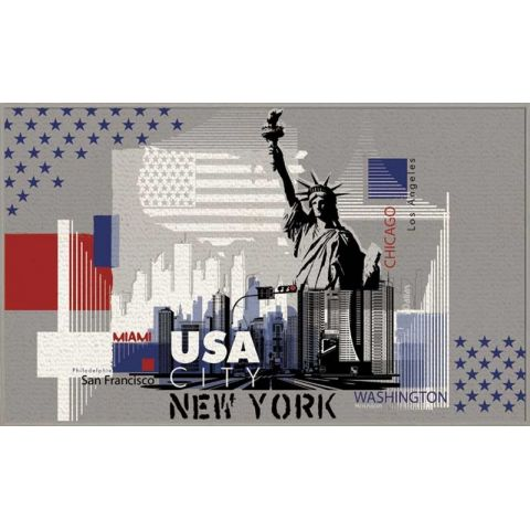 "Tapis 50x80cm ""USA City"" Gris"