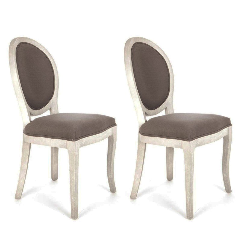 lot de 2 chaises m daillon cl on taupe gris. Black Bedroom Furniture Sets. Home Design Ideas