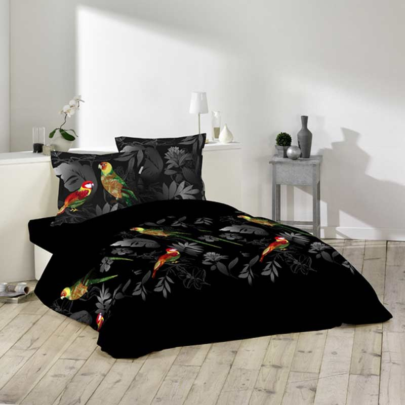 parure de lit 3 pi ces 220x240cm perroquet noir 220x240cm. Black Bedroom Furniture Sets. Home Design Ideas