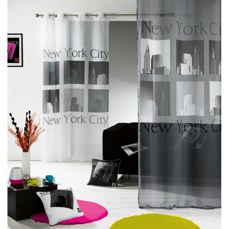 voilage urban pop new york gris blanc 140x240cm. Black Bedroom Furniture Sets. Home Design Ideas