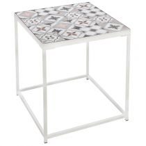 "Table d'Appoint ""Factory"" 40cm Blanc"