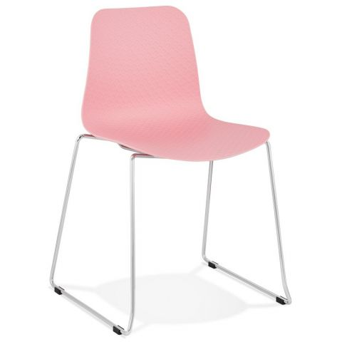 """Chaise Moderne """"Valkyrie"""" 82cm Rose & Argent"""