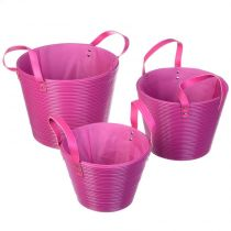 Set de 3 Paniers Rond Rose