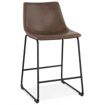 "Tabouret de Bar Vintage ""Cow-Boy"" 88cm Marron"