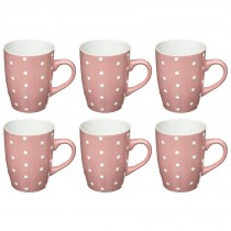 "Lot de 6 Mugs ""Pois"" 32cl Rose"