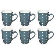 "Lot de 6 Mugs ""Pois"" 32cl Bleu"