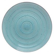 "Lot de 6 Assiettes Plates ""Natural"" 28cm Turquoise"