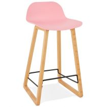 "Tabouret de Bar Design ""Toki"" 87cm Rose & Naturel"