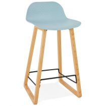 "Tabouret de Bar Design ""Toki"" 87cm Bleu & Naturel"