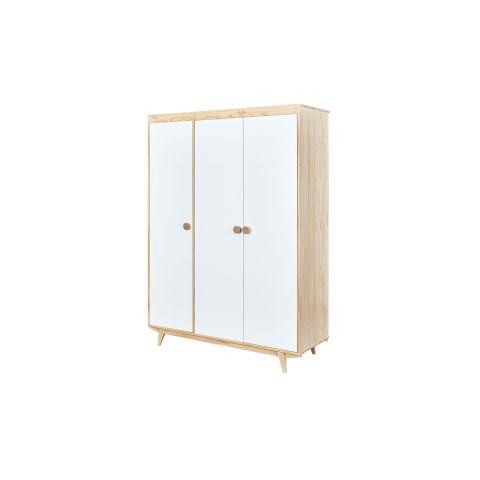 "Armoire 3 Portes ""Frida"" 150cm Naturel & Blanc"