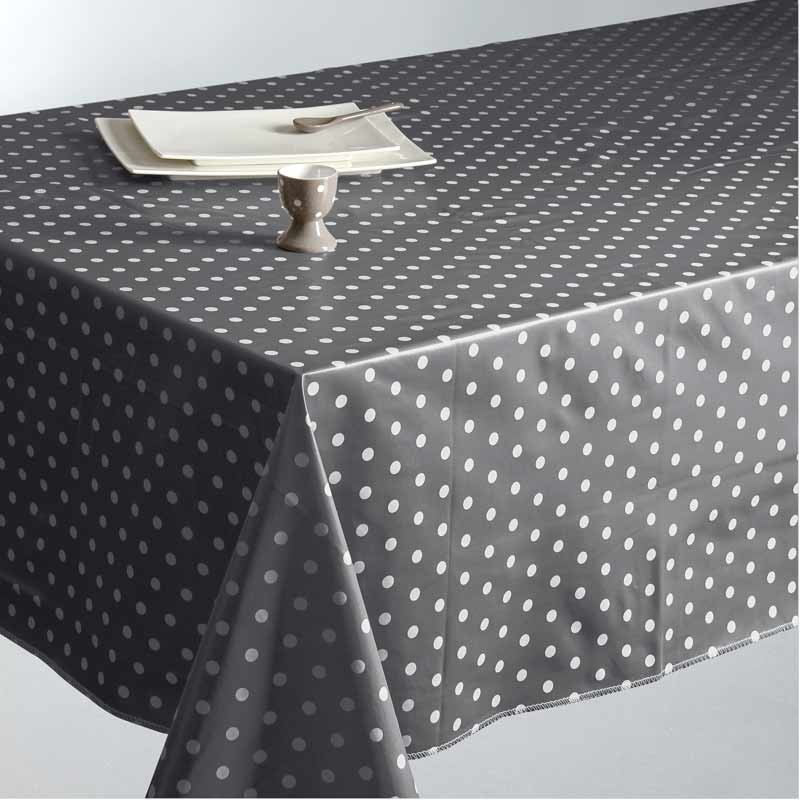 nappe en toile cir e pois gris fonc 140x240cm. Black Bedroom Furniture Sets. Home Design Ideas
