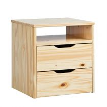 "Table De Chevet 2 Tiroirs Bois Massif ""Cork"" Naturel"