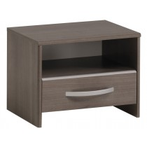 "Table de Chevet 1 Niche & 1 Tiroir ""Sherif"" 44cm Noyer"