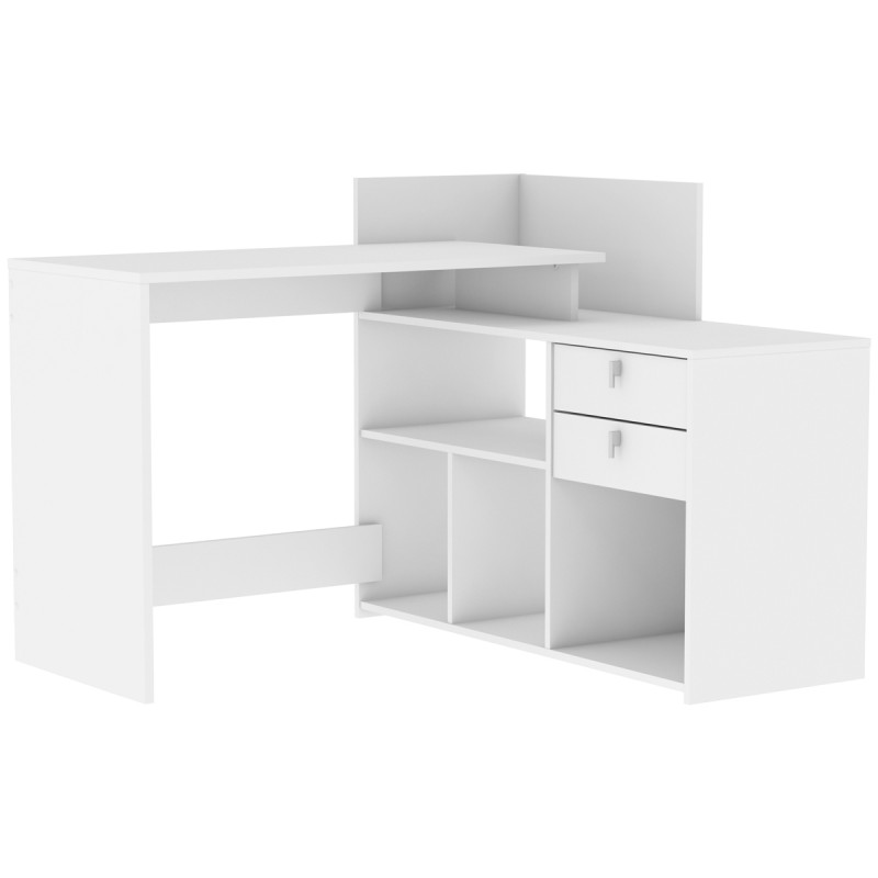 bureau d 39 angle 2 tiroirs amalia 121cm blanc. Black Bedroom Furniture Sets. Home Design Ideas