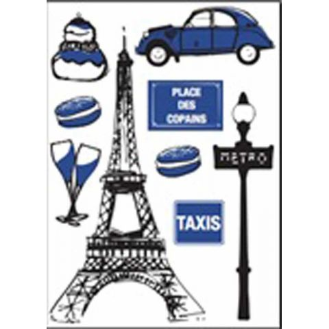 "Stickers Ville "" Tour Eiffel"" 50x70cm"