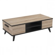 "Table Basse 2 Tiroirs ""Ella"" 106cm Naturel"