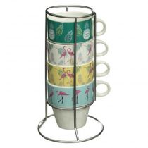 "Lot de 4 Mugs sur Rack ""Tropic"" 8cm Multicolore"