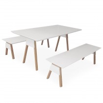 "Table & Bancs Scandinave ""Tim"" 160cm Blanc"