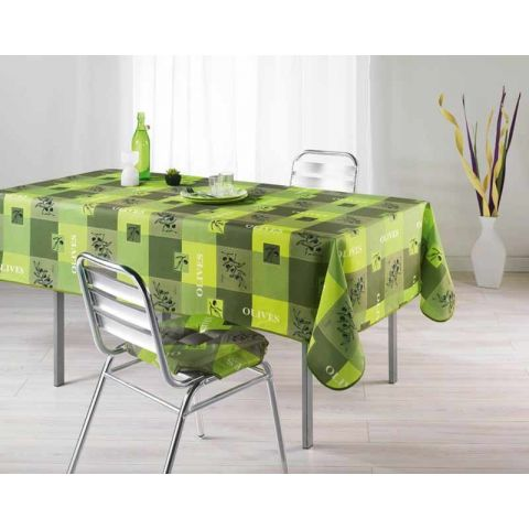 Nappe Polyester 150x240cm Provencia Vert Anis