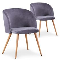 "Lot de 2 Chaises Scandinave Velours ""Sarah"" 81cm Gris"