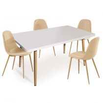 "Ensemble Table & 4 Chaises ""Kathrine"" 150cm Beige"