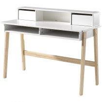"Bureau Design ""Kiddy"" 120cm Naturel & Blanc"