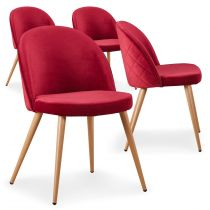"Lot de 4 Chaises Design Velours ""Ilay"" 75cm Rouge"